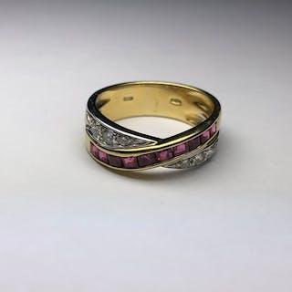 18 carati Oro bianco, Oro giallo - Anello Rubino - Diamanti