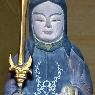 Sculpture - Wood - Sword Wielding Shinto Diety - Japan - 19th century