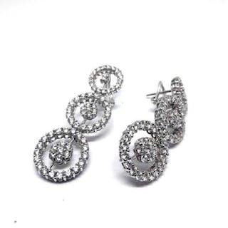 18 carati Oro bianco - Orecchini - 2.50 ct Diamante