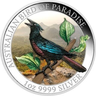 Australien - 1 Dollar 2019 Birds of Paradise - Paradiesvogel 1 Oz - Silber