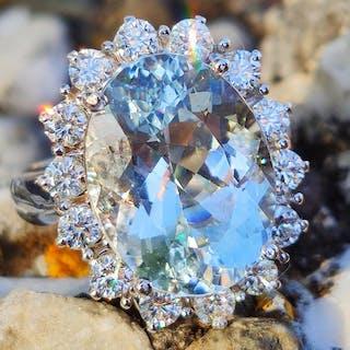 18 carati Oro bianco - Anello - 8.24 ct Aquamarine VVS - Diamante
