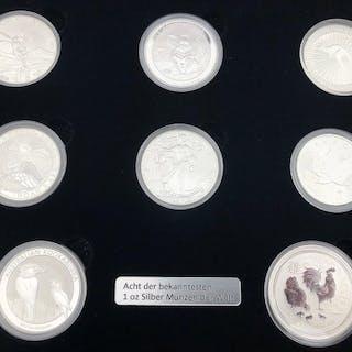 Welt - 8 münzen 2017 - Die bekanntesten Silbermünzen der...