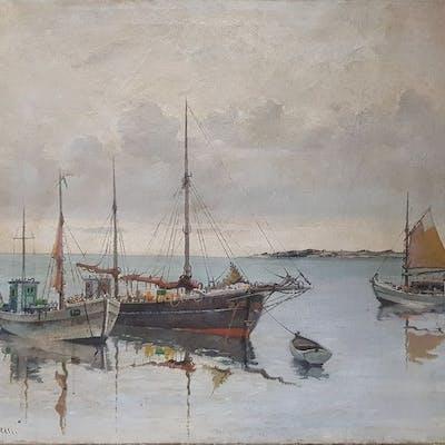 Ugo Maranesi( 1851-1917) - Marina con imbarcazioni