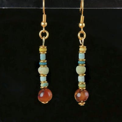 Ancient Egyptian Faience Earrings with faience and carnelian beads - 56.5 mm