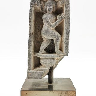 Gandhara Schist Panel depicting a Buddha worshipper bringing offerings / w stand
