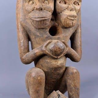 Statue Reliquaire - Bois, Cordelette, Métal - Boulou - Cameroun