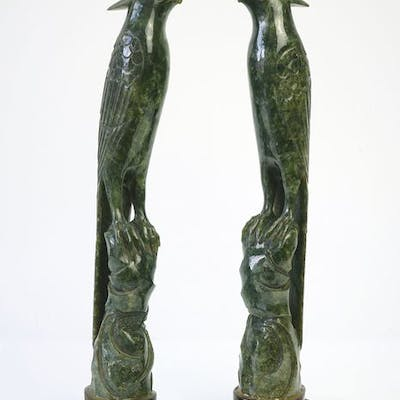 Pair of Birds - Spinach Green Jade - China - Late 19th/Early 20th Century