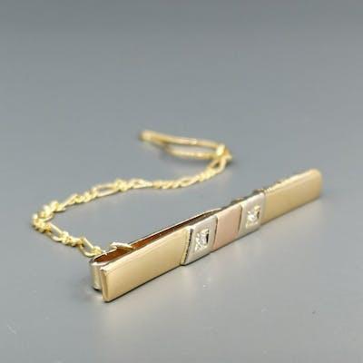 18 carati Oro bianco, Oro giallo, Oro rosa - Fermacravatta - 0.05 ct Diamante
