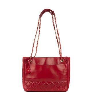 Chanel - Cabas vintage en cuir d'agneau rouge Sac à main