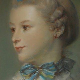 D'après Jean Baptiste Perroneau - la femme au chat , melle Huquier