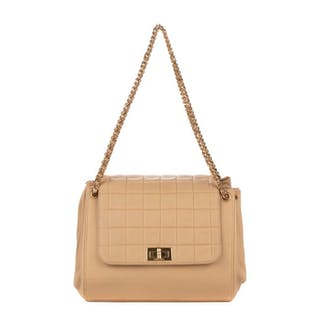 Chanel - Rare sac à main accordéon en cuir d'agneau beige Sac à main