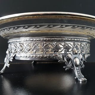 Jardiniere or fruit bowl - Silverplate, Cut glass - Unknown - Early 20th century