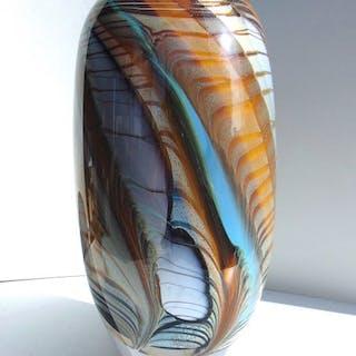 Maxence Parot  - Grand Vase unique massif Structure 23cm - Verre