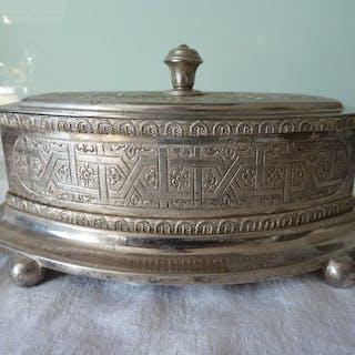 important coffret en métal argenté  (1) - métal argenté...
