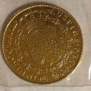 México - 8 Escudo 1821 - Fernando VII - Lima - Oro