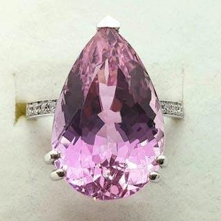 18 carati Oro bianco - Anello - 17.62 ct Kunzite - Diamanti - No Riserva