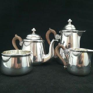 Service à thé et café, service égoïste - Argent 950 - France - 1850
