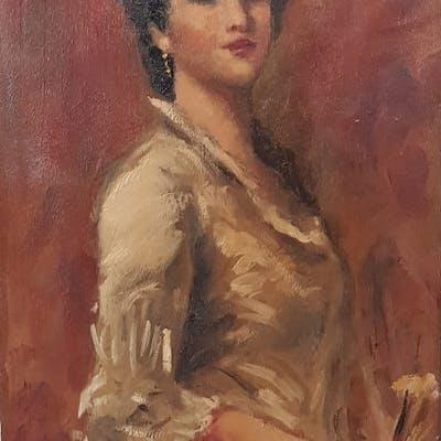 Emilio Rizzi (1881-1952) (Attr. a) - Nobildonna con ventaglio