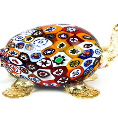 Livio Campanella (Murano) - Scultura Tartaruga murrina Millefiori - Vetro