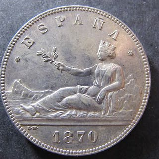 España - Madrid - 5 Pesetas Gob.Provisional - 1870 *70 - EBC - Plata