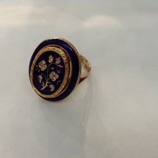 Ring with cobalt enamel and round cut diamonds - 18 kt. Gold - Ring Diamond