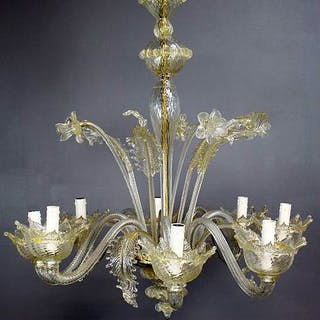 Vintage Murano design mouth-blown glass chandelier with gold flakes in the glass