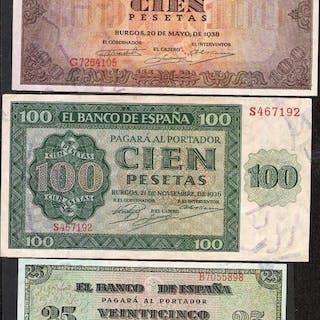 España - 25, 100 y 100 Pesetas 1936-1938 - Pick 101a, 111a y 113a