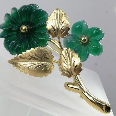 18 carati Oro - Spilla agata verde
