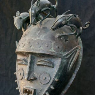 Bronze Baule Mask - Ivory Coast (1) - African bronze - West Africa