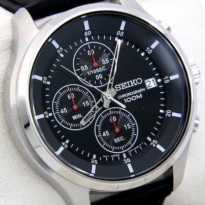 """Seiko - Chronograph """"Black Dial"""" 100M Leather - - """"NO..."""