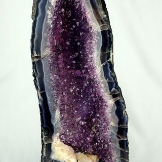 Gorgeous Amethyst Agate Druse with Beautiful Calcite...