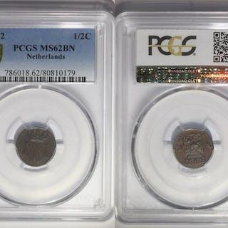 Die Niederlande - Willem III - ½ Cent 1862 in PCGS slab MS62
