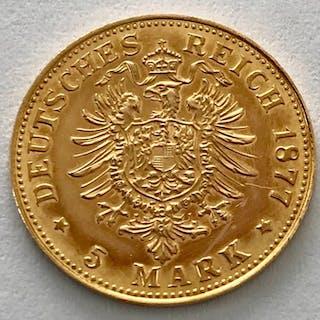 Germany - Prussia - 5 Mark 1877 A - Wilhelm I. - Gold