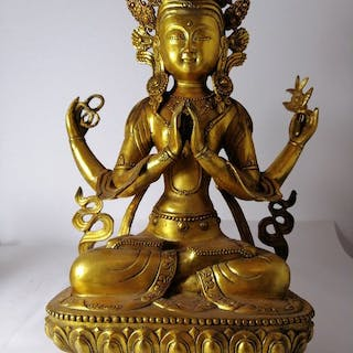 Giant sized Four- Armed Avalokiteshvara - Patinated...