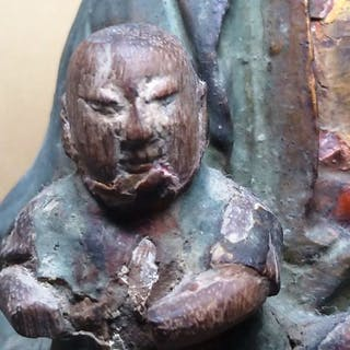 Sculpture - Wood - Child Granting Gwan Ying - Taiwan - 19th century