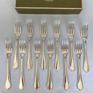 Christofle modèle Spatour  - Fourchettes à dîner  (12) - Métal argenté