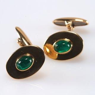 18 kt. Yellow gold - Cufflinks Emerald