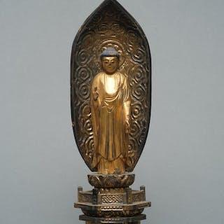 Standing gilded wooden Buddha Amida Raikō - Wood...