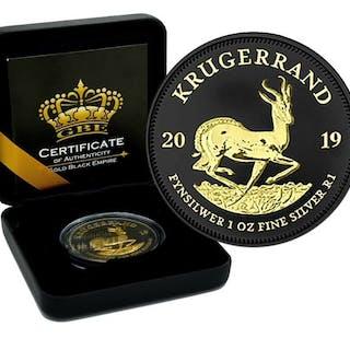 Südafrika - Krugerrand 2019 Gold Black Empire Edition in Box - 1 Oz - Silber