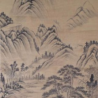 Ink painting - Large Chinese scroll hand made ink...