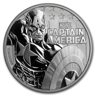 Tuvalu - 1 Dollar 2019 Captain America - Marvel - 1 oz - Silber