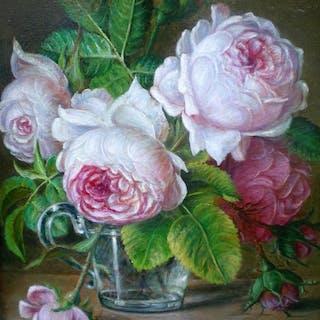 Hans Habraken (1946-) - Glazen vaasje met rozen