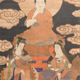 Very large Buddhist hanging scroll - Silk - Buddhist...