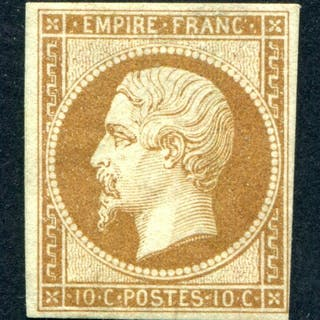 Francia 1860 - Napoleon III imperforate, 10 centimes brown - Yvert 13Bb