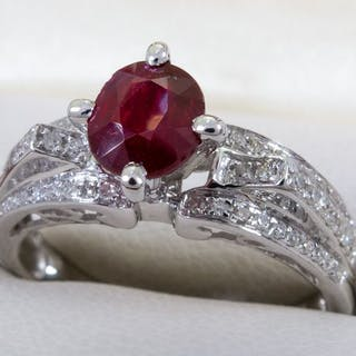14K Gold - GIA 1.27ct - Diamond & unheated ruby ring - No Reserve!