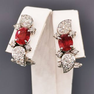 18 kt. White gold - Earrings - 2.20 ct Ruby - Diamonds