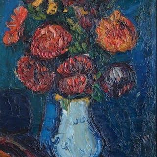 Pierre Ambrogiani (1907-1985) - Bouquet au vase bleu