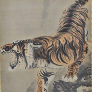 Gemälde - Seide - Tier - Fierce Tiger - Tetsugeon...