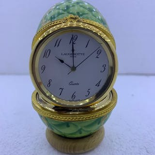 pendulette oeuf LAUGEROTTE - Plaqué or, Porcelaine - Fin du XXe siècle