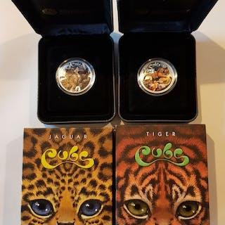 Australien - 1/2 Dollar 2016 The Cubs - Tijger en Jaguar - 2 x1/2 Oz- Silber